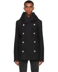 Balmain Black Wool Hooded Pea Coat