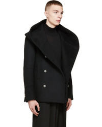 Balmain Black Wool Hooded Peacoat | Where to buy & how to wear