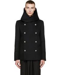 Balmain Black Wool Hooded Peacoat
