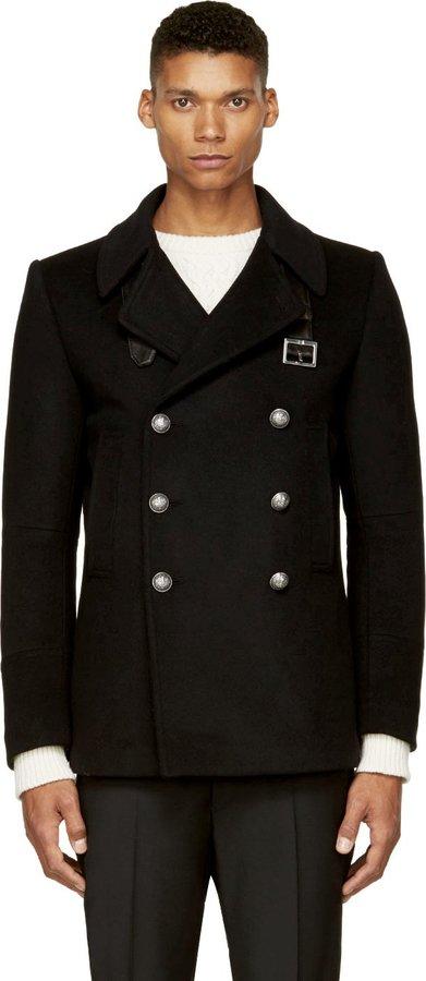 Balmain Black Wool Pea Coat | Where to buy & how to wear
