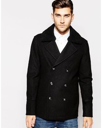 Asos Brand Wool Mix Peacoat With Faux Shearling Collar In Black