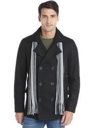 Buffalo David Bitton Buffalo Jeans Black Wool Blend Button Down Scarf Accent Long Sleeve Peacoat