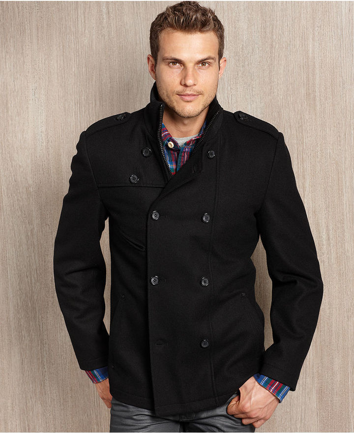 GUESS Coat Wool Blend Double Breasted Modern Pea Coat | Where to ...