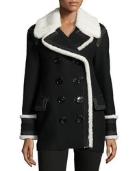 Burberry Coltsmeade Shearling Fur Trim Peacoat