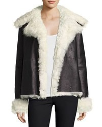 Theory Curly Toscana Shearling Fur Leather Pea Coat Black