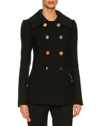 Dolce & Gabbana Double Breasted Embellished Button Peacoat Black