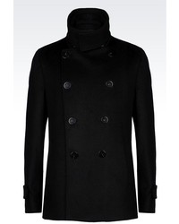 Emporio Armani Double Breasted Pea Coat In Wool And Cashmere
