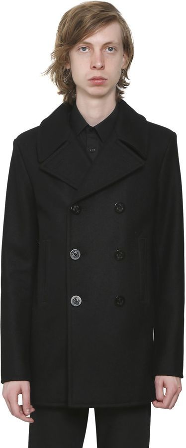 87f4ab33ea5 ... Coats Saint Laurent Double Breasted Wool Cloth Peacoat ...