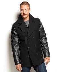 Sean John Faux Leather Sleeve Military Pea Coat
