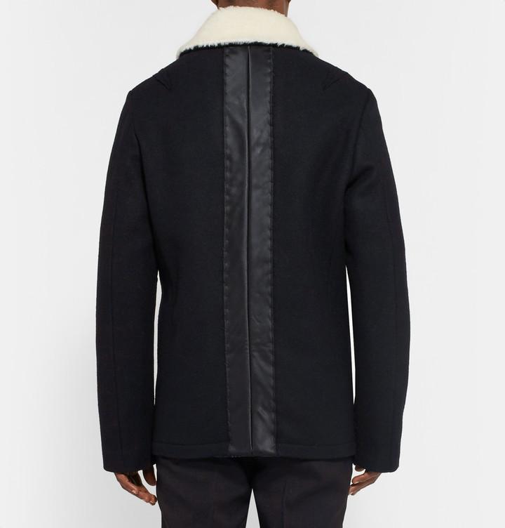 303820df671 Maison Margiela Faux Shearling Trimmed Melton Wool Peacoat