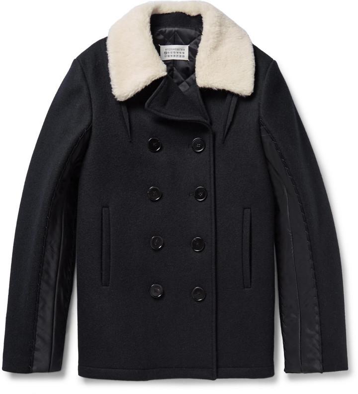 536113940a8 ... Maison Margiela Faux Shearling Trimmed Melton Wool Peacoat ...