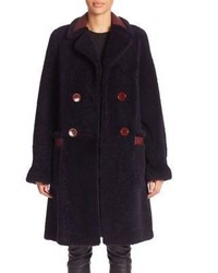 Diane von Furstenberg Grayson Reversible Shearling Leather Peacoat
