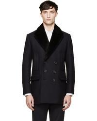 Burberry London Navy Black Fur Collar Clipton Peacoat
