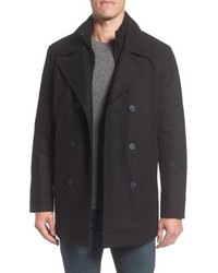 Andrew Marc Marc New York Burnett Wool Blend Peacoat With Front Insert