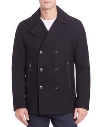 Michael Kors Michl Kors Double Breasted Wool Blend Peacoat