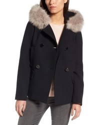 New york faux fur trim hooded peacoat medium 4913257