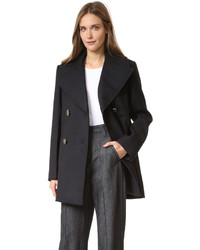 Nina Ricci Pea Coat With Dove Buttons