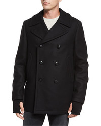 Rag and Bone Rag Bone Reefing Double Breasted Wool Peacoat Black