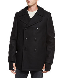 rag & bone Reefing Double Breasted Wool Peacoat Black