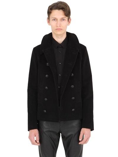 Saint Lau Double Ted Cotton, Black Cotton Pea Coat