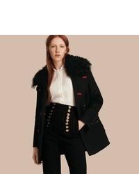 Burberry Shearling Collar Wool Pea Coat