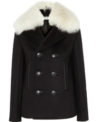 Balenciaga Shearling Trimmed Wool Blend Felt Peacoat