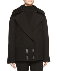 Jason Wu Sheepskin Collar Double Breasted Pea Coat