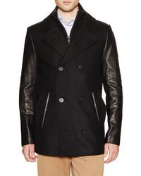 Soia & Kyo Bradley Leather Sleeve Wool Peacoat