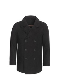 Specially made Double Breasted Pea Coat Wool Blend Insulated Black