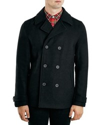 Topman Black Double Breasted Wool Blend Peacoat