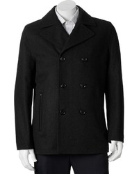 Towne By London Fog Wool Blend Double Breasted Peacoat