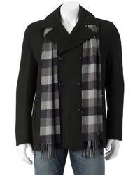 Towne Wool Blend Double Breasted Peacoat With Plaid Scarf