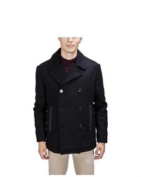 United Face Double Breasted Black Wool Pea Coat
