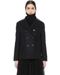 Valentino Studded Collar Felted Wool Peacoat