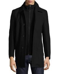 Andrew Marc Warren Buttonzip Front Pea Coat Black