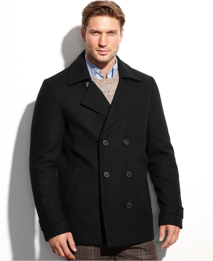 Calvin Klein Wool Blend Double Breasted Pea Coat | Where to buy ...