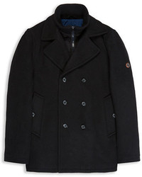 Ben Sherman Wool Blend Funnel Neck Peacoat