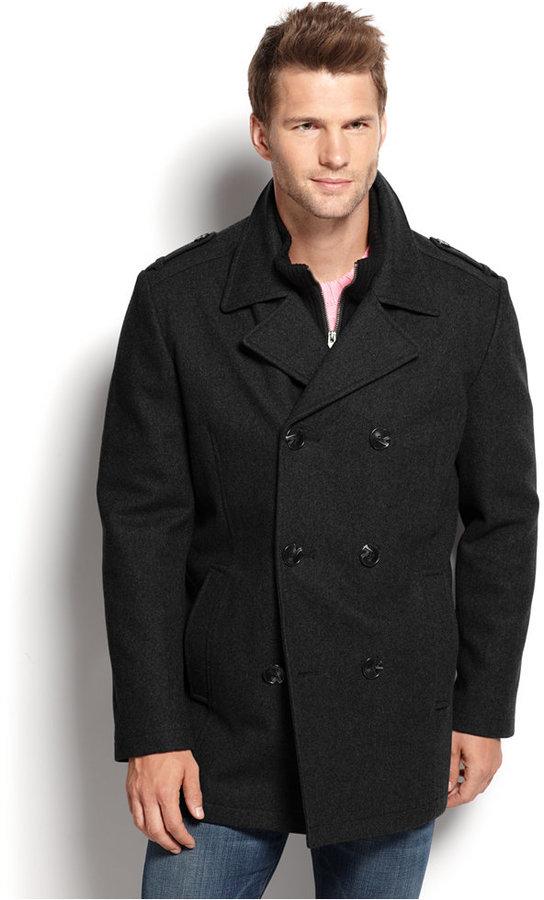 29efcecd9bb8 ... Marc New York Wool Blend Knit Bib Double Breasted Pea Coat ...