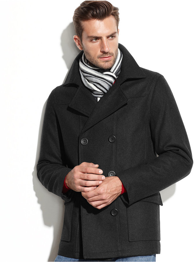 b46ca18e3 $265, Buffalo David Bitton Wool Blend Pea Coat With Scarf