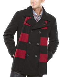 Izod Wool Blend Peacoat With Scarf