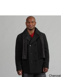 Kenneth Cole Reaction Wool Blend Peacoat With Scarf