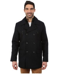 Calvin Klein Wool Pea Coat With Bib Chest Zip Detail