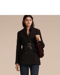 Burberry Wool Silk Pea Coat With Regital Topstitching