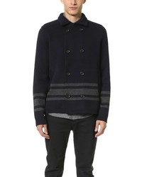 Vince Wool Stripe Pea Coat
