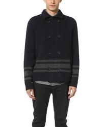 Wool stripe pea coat medium 350449