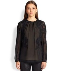 Escada Lace Trimmed Silk Blouse