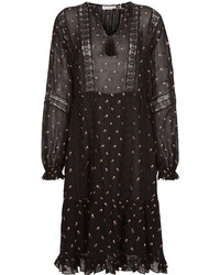 Ulla Johnson Black Floral Embroidered Myna Dress
