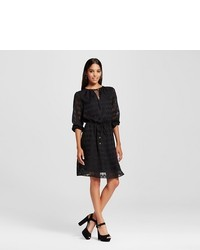 Mossimo Long Sleeve Peasant Blouse Dress With Tie Waist