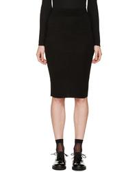 Alexander McQueen Black Knit Pencil Skirt