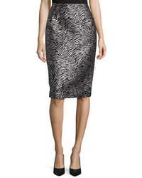 Michael Kors Michl Kors Zebra Jacquard Pencil Skirt